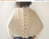 20% WINTER SALE Ecru Shawl With Cable Knit by Afra