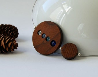 50% off wood circles and blue glass beads necklace