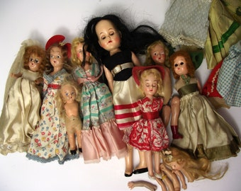 Antique and Vintage Doll Part Lot for Collection Repair or Assemblage Art Sleeping Eye Plastic Doll 1930's Wood Composition