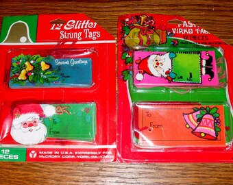 2 Packs Vintage 1960s  1970s Christmas Gift String Tags 24 in All