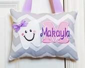 Tooth Fairy Pillow - Gray Chevron Purple
