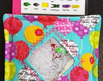I Spy Bag - Mini with SEWN Word List and Detachable PICTURE LIST- Birthday Balloons