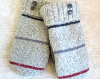 NEW! Repurposed Sweater Wool Mittens for Men, in Striped Ragg Wool, Size Large, Eco-Friendly Felted Wool Mittens