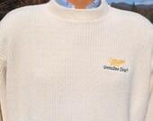 vintage 80s sweater MILLER genuine draft mgd beer party crewneck XL Large ivory