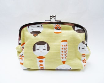 Cosmetic bag, Japanese kokeshi doll fabric, cotton pouch