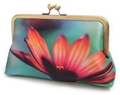 Clutch bag, daisy silk purse, gift for her, contemporary clutch, orange pink flower handbag, AFRICAN DAISY