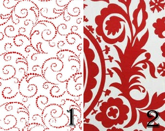 Wedding Table Runner, Valentine Table Runner, Red White Table Runner, Paisley Table Runner, Holiday Decor, Red Scroll Table Runner/Red White