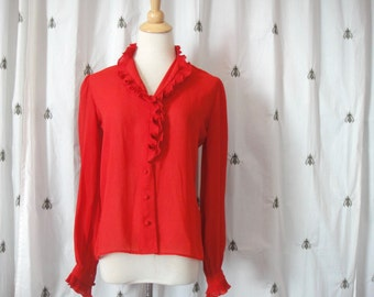 Vintage Red Secretary Blouse, Sheer Gauzy with Ruffles at Neck, Lapel and Cuffs, Size Medium