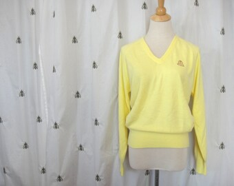 Vintage Lady Pickering Yellow Soft V Neck Sweater, Metuchen Golf and Country Club, Size Extra Large, Medium