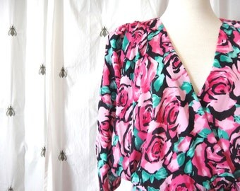 Vintage Pink Roses Plus Dress, New With Tags, Size Extra Large, Graphic Floral Print, J.B. Too, Size 18