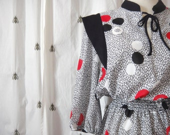 Vintage Polka Dot Plus Dress, Black White and Red, New With Tags, Size Extra Large, Promises Promises, Size 18