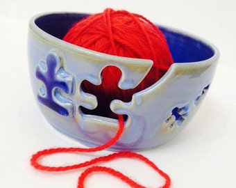 Puzzle Ceramic Wheel Thrown Yarn Bowl - MADE TO ORDER - Blue