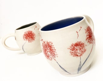 Reserved - One Dandelion Porcelain Mug  - MADE TO ORDER