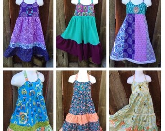 Wholesale Girls hippie dresses, Bulk lot, Patchwork Baby Dress, Grateful Dead Bear, Toddler Girl Dress, Teen girls custom made dresses