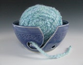 Ceramic Yarn Bowl Pottery Knitting Bowl in Sapphire Blue with Chattering