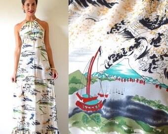 FALL SALE / 20% off Vintage 70s Hawaiian Harbor Maxi Dress (size small, medium)