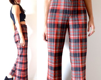 Vintage 60s 70s High Waisted Plaid Wide Legged Trousers (size small)