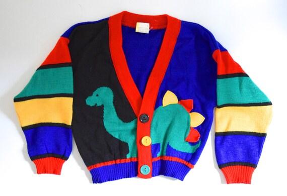 SPRING SALE/ 20% off Vintage 80s 90s Little Brontosaurus Childrens Cardigan Sweater (size 2T)