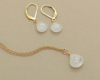 Moonstone Jewelry Set, Beach Wedding Jewelry, Rainbow Moonstone, June Birthstone, Beachy Bridesmaid, Necklace Earring Set