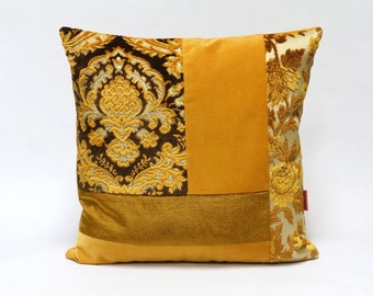 Velvet Patchwork Pillow in brown and gold - Handmade with Love from vintage upholstery fabrics