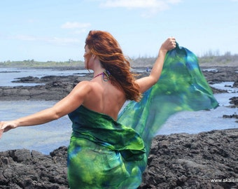 Silk sarong hand painted beach pareo wrap see size your choice of colors MADE to ORDER custom