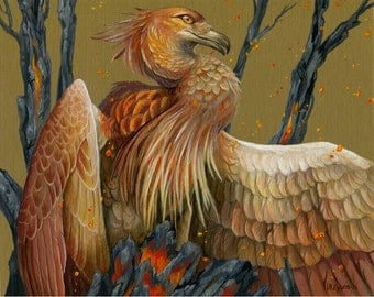 Young Fire - Fantasy Phoenix Print - Firebird Bird Art