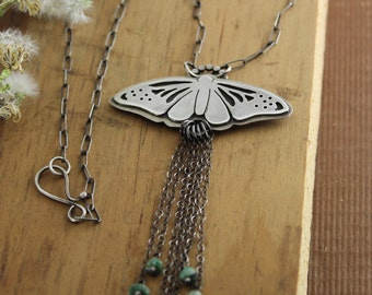 Moth with Brazilian Emeralds - sterling silver, statement necklace, nature lover, Lepidoptera, winged insect