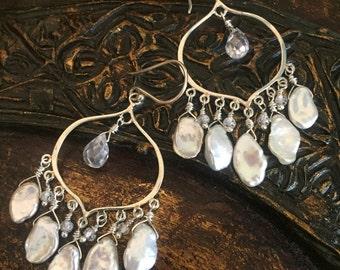 sterling silver earrings boho style yoga jewelry keishi pearl cubic zirconia