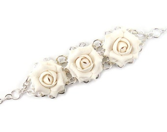 Three Rose Vintage Style Bracelet - Trio Rose Jewelry, roses Filigree Bracelet