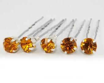 Topaz Rhinestone Hair Pins - Topaz Crystal Hair Pins, Topaz Wedding Hair Pins, Topaz Bobby Pins - 7mm/5 qty - FLAT RATE SHIPPING