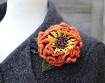 Wool Flower Brooch Orange and Yellow Primrose Pin