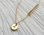 Tiny Gold Discs Necklace Asymmetrical Bar with Name or Date Perfect Anniversary Bridesmaids Gift Jewelry Idea