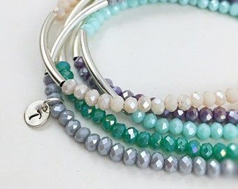 Beaded Bracelet Boho Bohemian Jewelry Personalized Bracelet Friendship Bracelet Gift Charm Bracelet Sterling Silver Bracelet