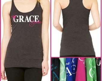 """GraceWear """"GRACE STUDIO"""" Racerback Tank Top with Customized Colors"""