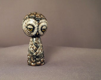Sleepy Owl Kokeshi Doll