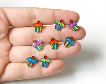 Cupcake stud earrings, cupcake jewelry, food jewelry