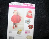 UNCUT Simplicity 1734 Baby Poncho, Diaper Cover, Hat, Booties Sewing Pattern SEWBUSY12