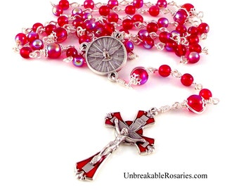 Holy Spirit Rosary Beads In Red AB Czech Glass With  Red Enamel Crucifix by Unbreakable Rosaries