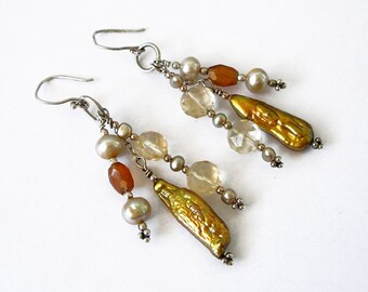 Gold and Silver Boho Chic Earrings Beaded Luxe Gemstone Jewelry For Women Citrine, Pearl, Hessonite Garnet, Sterling Silver Statement