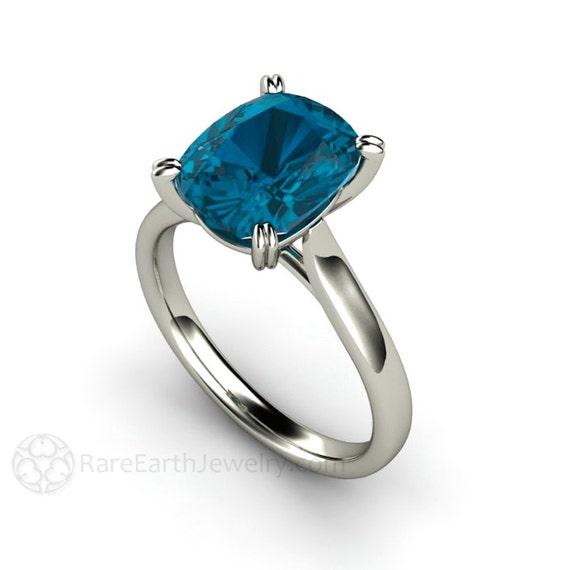 Cushion London Blue Topaz Ring London Blue Gemstone Ring