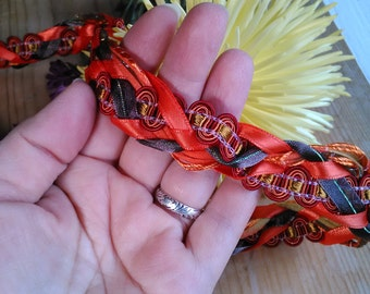 Wedding Handfasting Cord - Autumn Leaves orange brown SIMPLE NO beaded ends