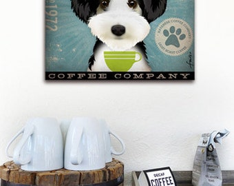 Havanese Coffee Company dog illustration graphic art on gallery wrapped canvas by stephen fowler