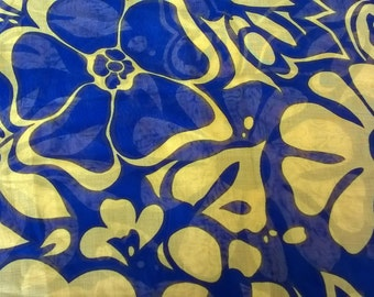 Bold Floral Organdy Fabric , 3 yards by 45, Fabulous Navy and Yellow Mod Flowers 70s Pop Mod