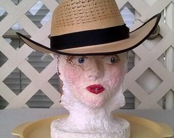 U-Rollit 1950s Western Fedora Style Straw Hat, Amazing and NOS neverworn, Grosgrain Ribbon Trim, sz 7-1/8,  Summer Cowboy Hat