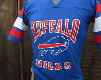 Vintage Buffalo Bills Tshirt vintage 70s Trench t shirt Buffalo Football shirt Blue Cotton Shirt S M
