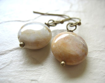 Fossil Earrings, Fossilized Coral Stone Dangle Drop Earrings, Artisan Stone Fossilized Coral Jewelry, Stone Earrings, Fossil Jewelry