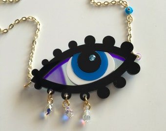Reserved for TERI------Last one!!! GREEK Evil Eye laser cut acrylic necklace godlike eye, statement piece, boho chic, greece, good luck piec