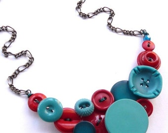 Christmas in July Sale Bright Red and Aqua Blue Vintage Button Statement Necklace - Funky Chunky Jewelry