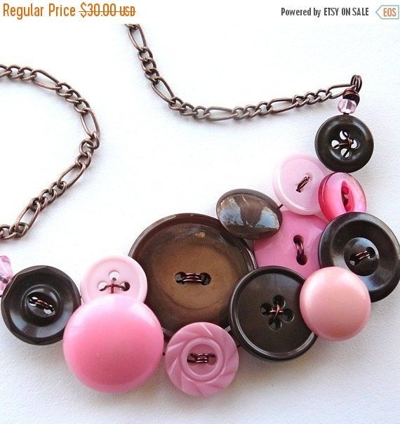 Christmas in July Sale Vintage Button Jewelry Pink and Brown Large Statement Necklace