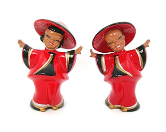 "Ceramic Asian Boy and Girl Figurines in Red, Kreiss & Co, 5"" Tall, Made in Japan, Vintage Circa 1950s Kitsch Collectible Oriental Home Decor"